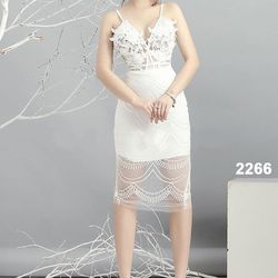 Đầm body hai dây ren 3D sang trọng 2266