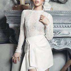 Đầm body trắng phối ren dài tay 2273