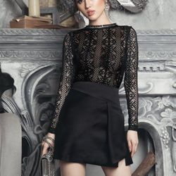 Đầm body đen phối ren dài tay 2272
