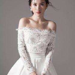 Đầm xòe trắng phối ren tay dài 2280