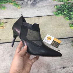 Giày boot cao gót phối lưới dây kéo giá sỉ