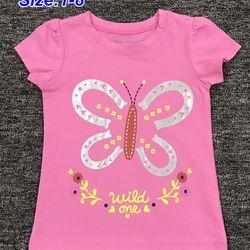 Có 5 màu-Áo thun Cotton 100 bé gái in bươm bướm ri8 1-8