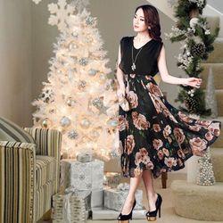 Đầm Maxi Luxury Rose Đính Đá Vai
