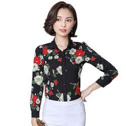 Áo Sơ Mi Hàn Quốc Nền Đen Hoa Rosa giá sỉ