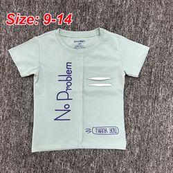 Có 4 màu- Áo thun Cotton bé trai in NO PROBLEM Đại ri 6 9-14