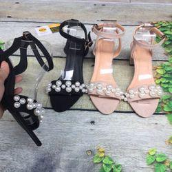 Giày sandal cao gót kết ngọc trai giá sỉ