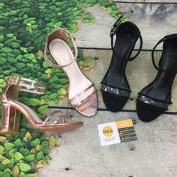 Giày sandal cao gót bảng mica viền giá sỉ