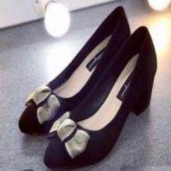 Giày búp bê cao gót nhung nơ ú nhũ 5p