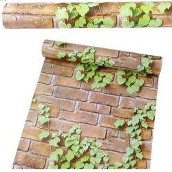 decal giấy dán tường gạch xám dây leo xanh giá sỉ