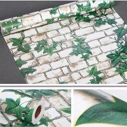 decal giấy dán tường gạch trắng dây leo xanh giá sỉ