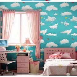 decal giấy dán tường mây xanh ngọc giá sỉ