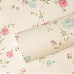 decal giấy dán tường hồng bi nền kem