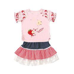 L5095 Đầm bộ bé gái dâu tây