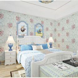 decal giấy dán tường hoa chùm cổ điển xanh