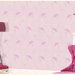 decal giấy dán tường hoa bốn cánh nền hồng giá sỉ