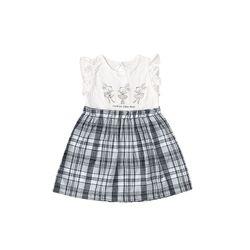 � L5074 Đầm bộ bé gái đuôi caro
