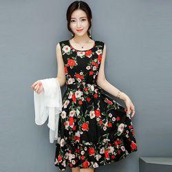 Đầm Xòe Vintage Đen Sát Nách 2 Tầng Hoa Mùa Xuân giá sỉ