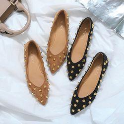 Giày búp bê da lộn đế bệtgắn họa tiết hạt vuông tròn H668-11 giá sỉ