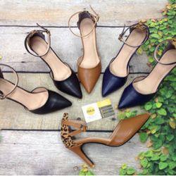 Giày cao gót bít mũi hậu da beo dây cổ chân giá sỉ