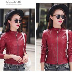 Áo khoác da nữ lót dù màu đỏ cực đẹp
