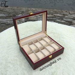 hộp đựng đồng hồ bằng gỗ 10 ngăn
