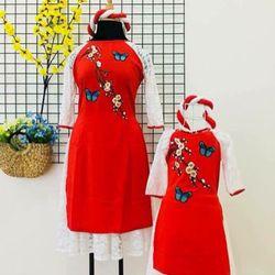 Áo Dài gấm Thái tuấn cho mẹ và bé giá tốt nhất tại xưởng giá sỉ
