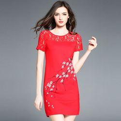Đầm Đỏ Phối Ren In Cành Đào Form Rộng giá sỉ