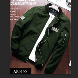 Áo Khoác Nam Kaki Lót Dù Bomber Màu Xanh Rêu AK-4100 tdt