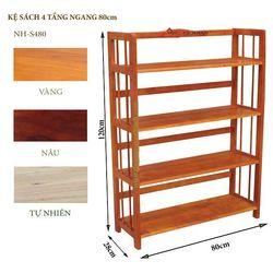 Kệ sách gỗ 4 tầng ngang 80cm - S480