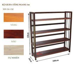 Kệ sách gỗ 4 tầng ngang 100cm - S4100