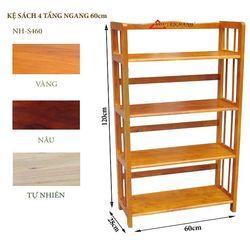 Kệ sách gỗ 4 tầng ngang 60cm - S460