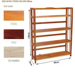 Kệ sách gỗ 4 tầng ngang 90cm -S490