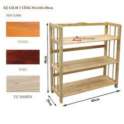 Kệ sách gỗ 3 tầng ngang 80cm- S380