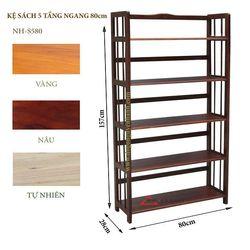 Kệ sách gỗ 5 tầng ngang 80cm -S580 giá sỉ