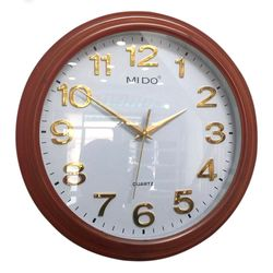 Đồng hồ treo tường kim nổi Nâu gỗ tặng kèm pin giá sỉ