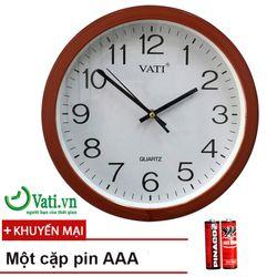Đồng hồ treo tường tròn F65 vati Nâu đỏ tặng kèm Pin giá sỉ