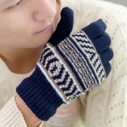 Găng tay len nam sọc mẫu Hàn Quốc