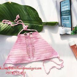 bikini len móc màu hồng giá sỉ
