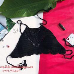 bikini len móc màu đen giá sỉ