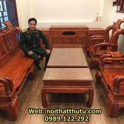 Bộ Bàn Ghế Tần Thủy Hoàng Tay 12 Gỗ Hương Đá giá sỉ