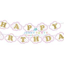 CỜ TRANG TRÍ HAPPY BIRTHDAY ĐÁM MÂY HỒNG
