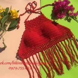 bikini len móc tua rua đỏ giá sỉ