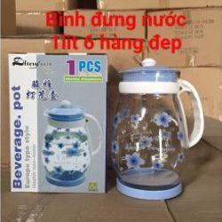 Bình đựng nước thủy tinh hoa văn 1L6 giá sỉ