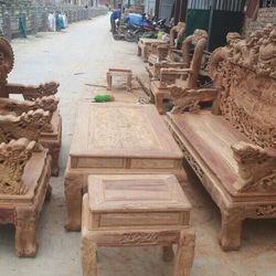 Bộ Bàn Ghế Nghê Đỉnh Tay Khuỳnh vách liền gỗ hương vân giá sỉ