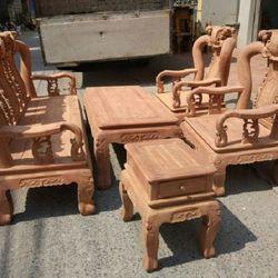 Bộ bàn ghế gỗ cẩm nam phi hàng đào tay 12 giá sỉ