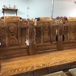 Bộ Bàn Ghế Giả Cổ Tần Thủy Hoàng gỗ mun nam phi tay 12 giá sỉ