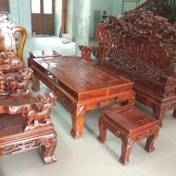 Bộ Bàn Ghế Nghê Đỉnh Tay Khuỳnh Gỗ Hương Vân giá sỉ