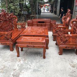 Bộ bàn ghế giả cổ nghê khuỳnh gỗ hương đá giá sỉ