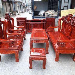 Bộ bàn ghế nghê đỉnh gỗ xà cừ tay 10 và tay 12 giá sỉ