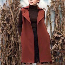 Áo khoác vest nâu form dài giá sỉ